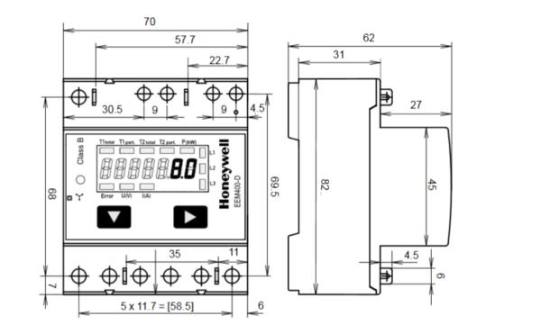 Liczniki energii elektrycznej trójfazowe EEM400-D 65A 2-taryfowe LCD TREND