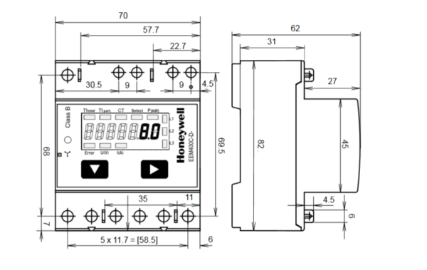 Liczniki energii elektrycznej, trójfazowe na przekładnik EEM400C-D 5A LCD TREND