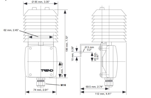 Obiektowy przetwornik wilgotności HT/D, HT/O TREND