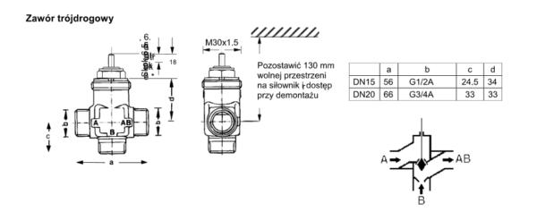 Zawór regulacyjny trójdrogowy V5833A V5833C PN16 DN15-20 HONEYWELL