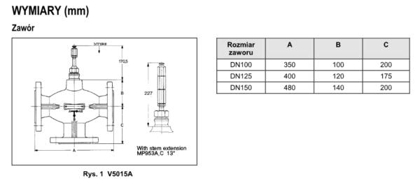 Zawór trójdrogowy regulacyjny V5015A PN6 DN100-150 TREND