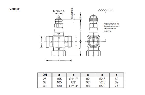 Zawór regulacyjny V5832B V5833A PN16 DN25-40TREND