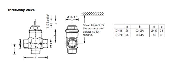 Zawór trójdrogowy regulacyjny V5833A PN16 DN15-20 TREND