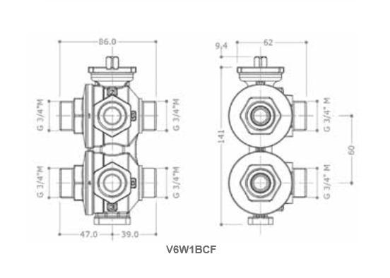Zawór 6-drogowy z obejściem V6W0000 JOHNSON CONTROLS