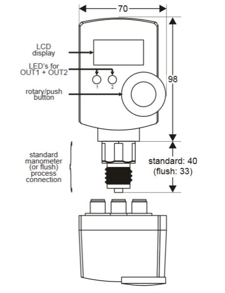 Elektroniczny presostat z przetwornikiem i wyświetlaczem do gazów i płynów o niskiej lepkości Smart Press PST-R FEMA