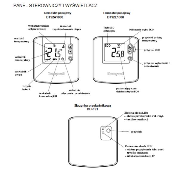 Termostat pokojowy z odczytem cyfrowym, bezprzewodowy DT92 HONEYWELL