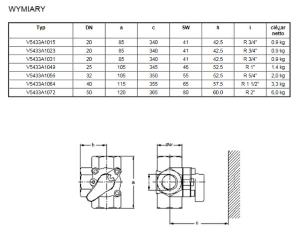 Zawór trójdrogowy mieszający prosty V5433A HONEYWELL