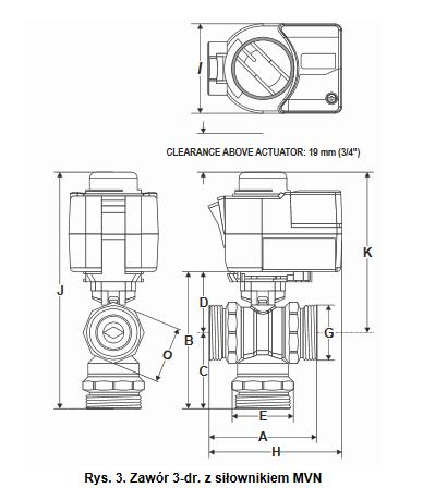 Zawór regulacyjny 3-drogowy kulowy VBG3 PN25 DN15-50 HONEYWELL