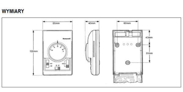 Termostat do sterowania wentylatorem i zaworem T6374 i T6375 HONEYWELL