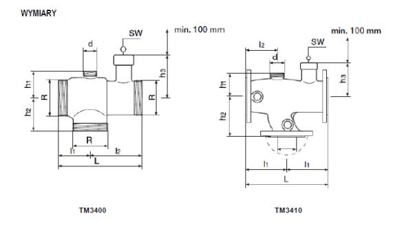 Termostatyczny zawór mieszający TM3400 TM3410 HONEYWELL