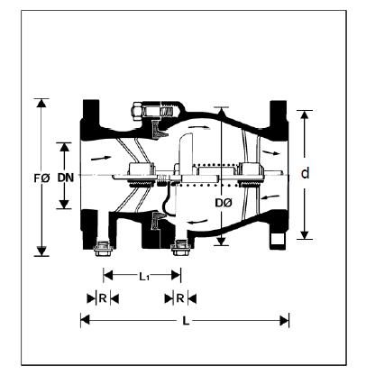 Zawór zwrotny antyskażeniowy, kołnierzowy EA-RV283P HONEYWELL