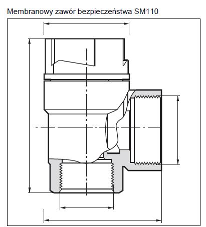 Membranowy zawór bezpieczeństwa do zamkniętych instalacji grzewczych SM110 HONEYWELL
