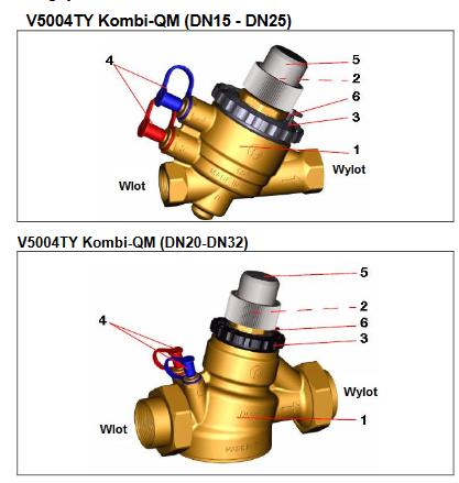 Zawór równoważąco-regulacyjny V5004T Kombi-QM HONEYWELL