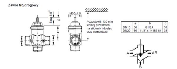 Zawór regulacyjny trójdrogowy V5823A HONEYWELL (PN16, DN15-20)