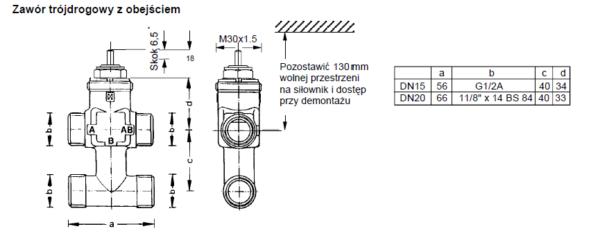 Zawór regulacyjny trójdrogowy V5823C HONEYWELL (PN16, DN15-20)