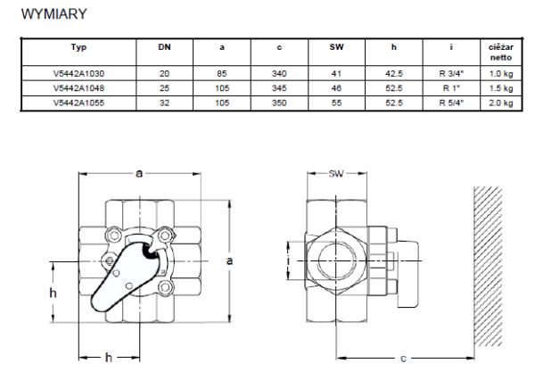 Zawór mieszający 4-drogowy V5442A HONEYWELL
