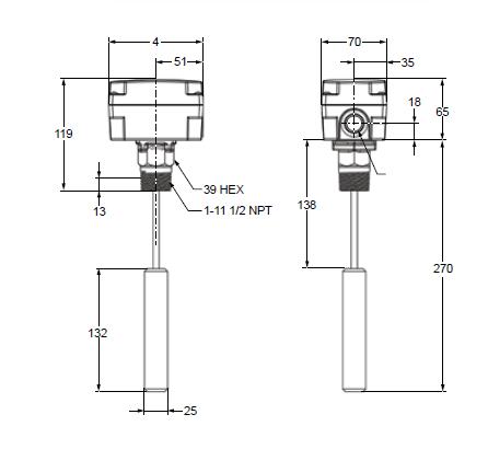 Sygnalizator pływakowy poziomu cieczy F263 PENN